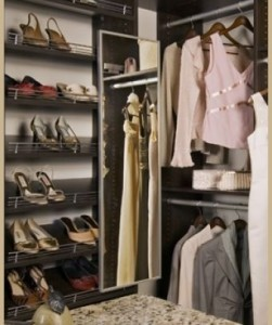 Closet Design Accessories Include Slide Out Mirror