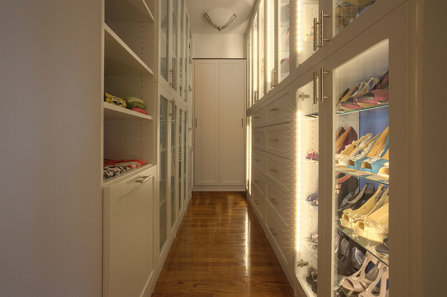 Custom closet walk-in shoe storage.