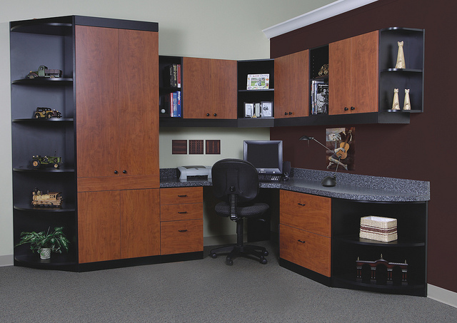 Dark wood office furniture in New England