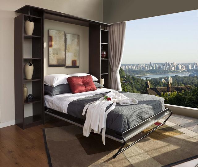 Murphy bed in a guest bedroom