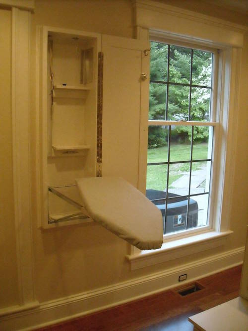 Ironing board in custom cabinet Boston