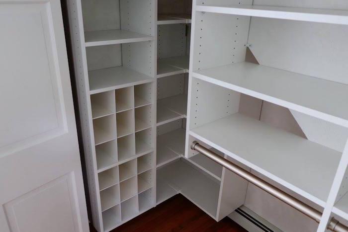 Reach-in closet shoe storage Franklin, MA