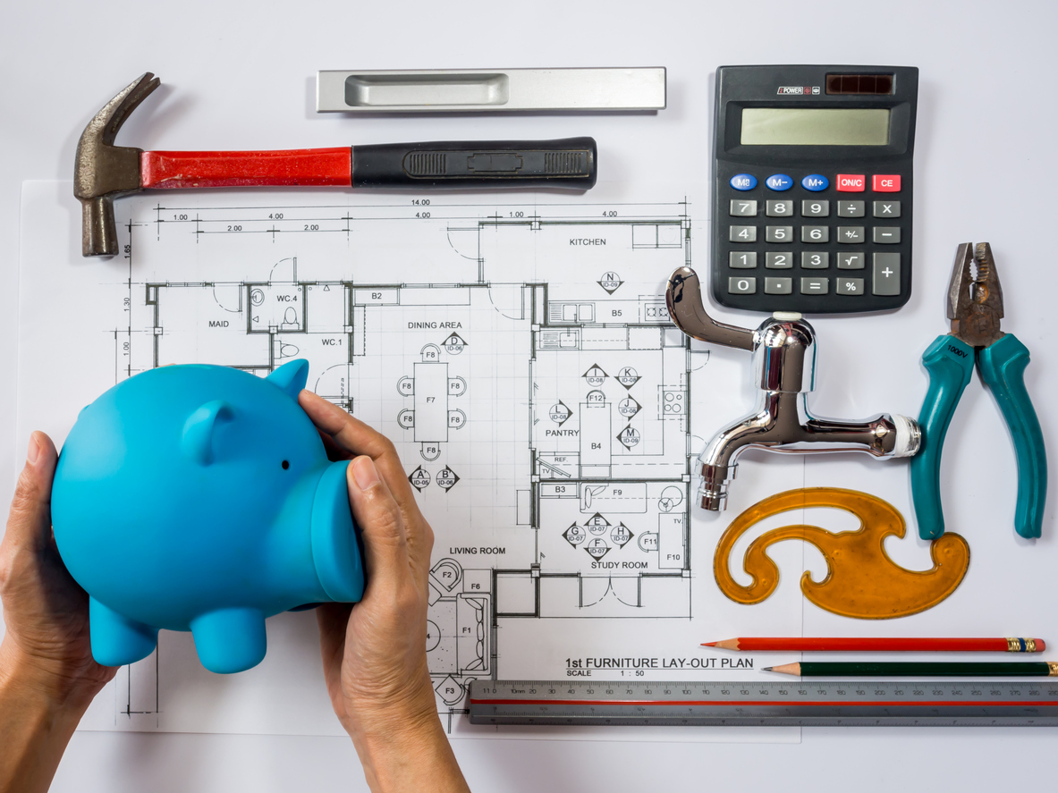 Piggy bank and blueprint remodel on budget