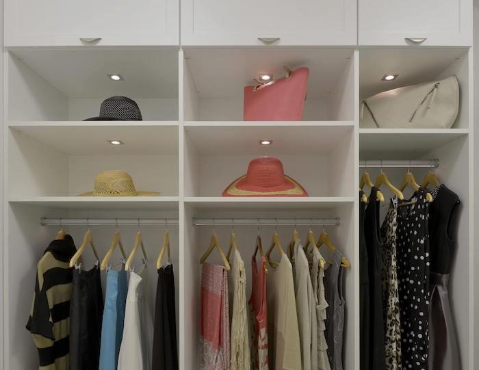 contemporary white built-in boutique closet Boston, MA