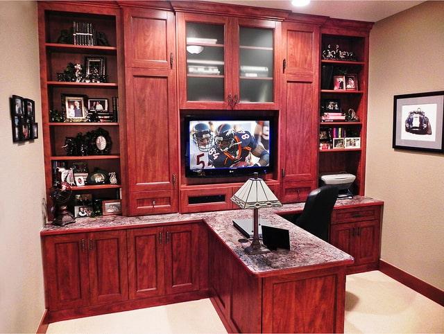 custom built-in office and desk Boston