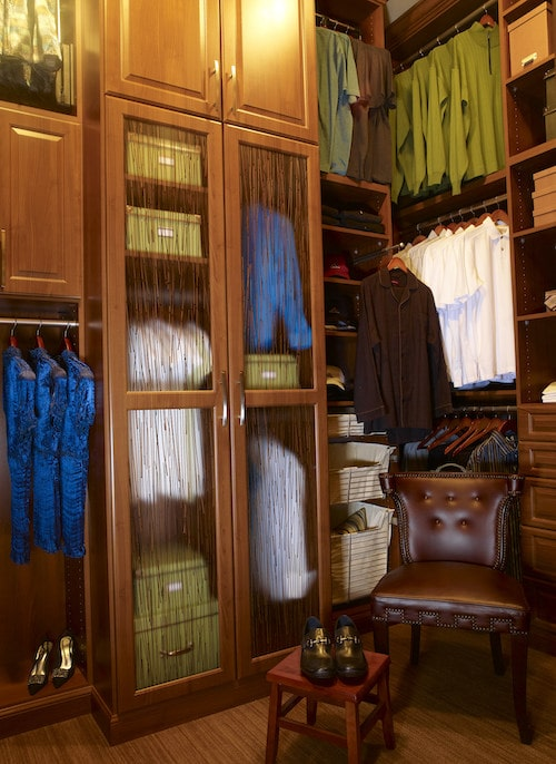 tall custom closet design in Boston, MA with lots of usable space