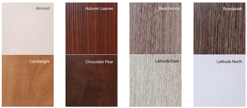 selection of standard custom closet design finishes