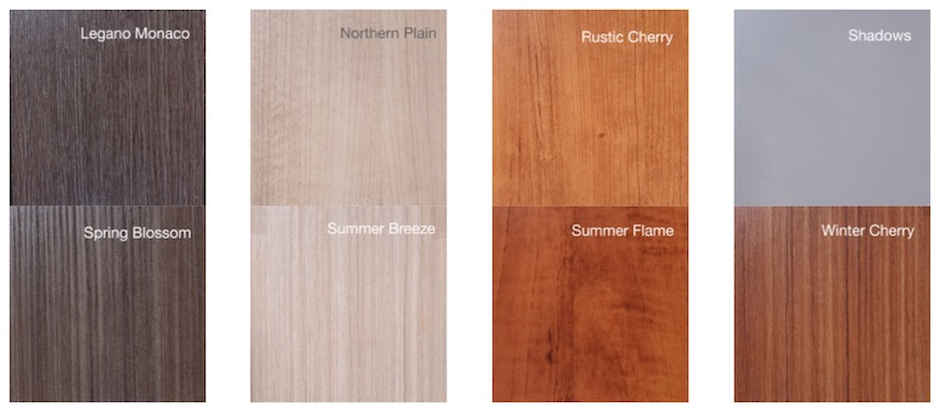 8 custom cabinet finishes in a grid
