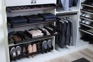 modern custom closet with storage accessories