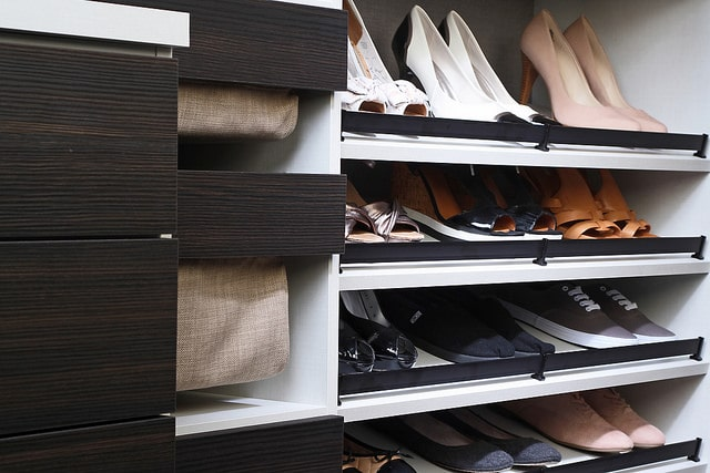 Boson custom closet with shoe storage and accessories