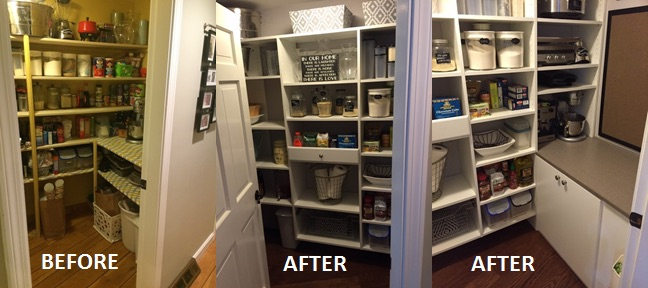 before and after home pantry project in Boston home