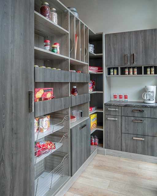 Boston contemporary pantry storage in dark grey cabinets