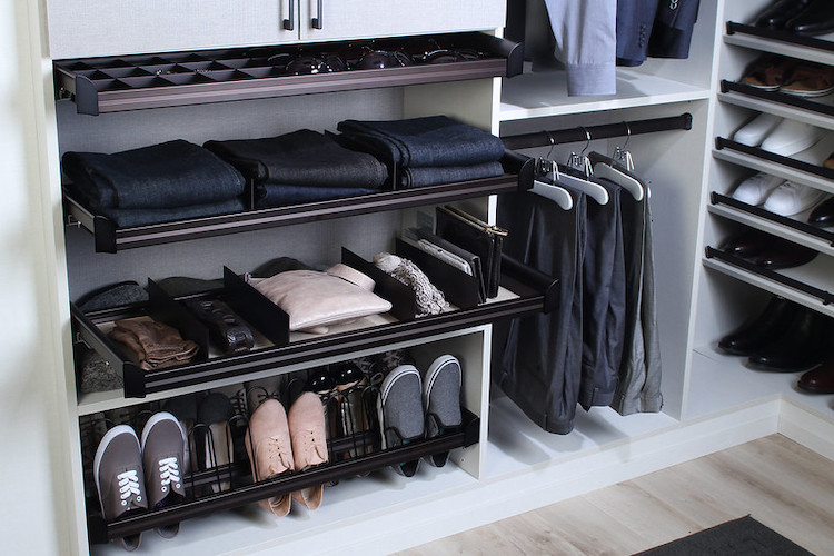 Shoe racks and other accessories save space.