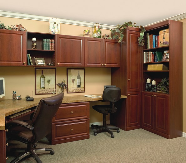 Home office with all cords hidden