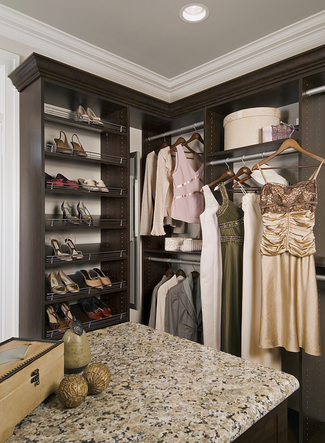Custom womens walk in closet