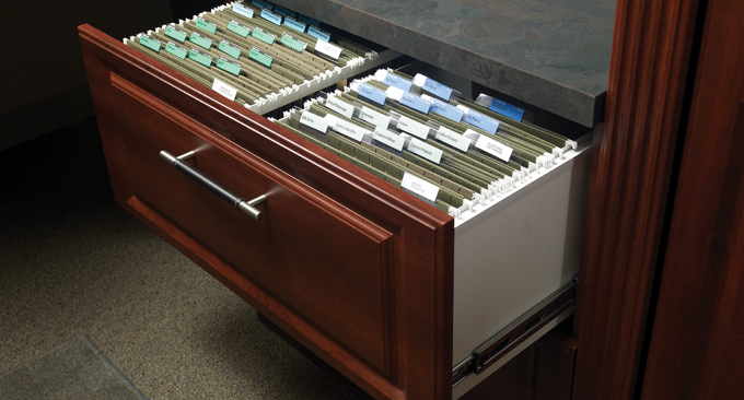 Filing drawer in custom home office