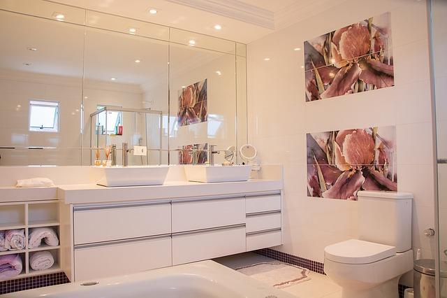 Bright, modern, organized bathroom