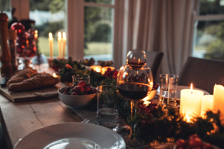 holiday table setting in condo