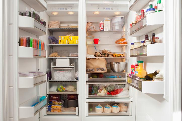 Open organized fridge