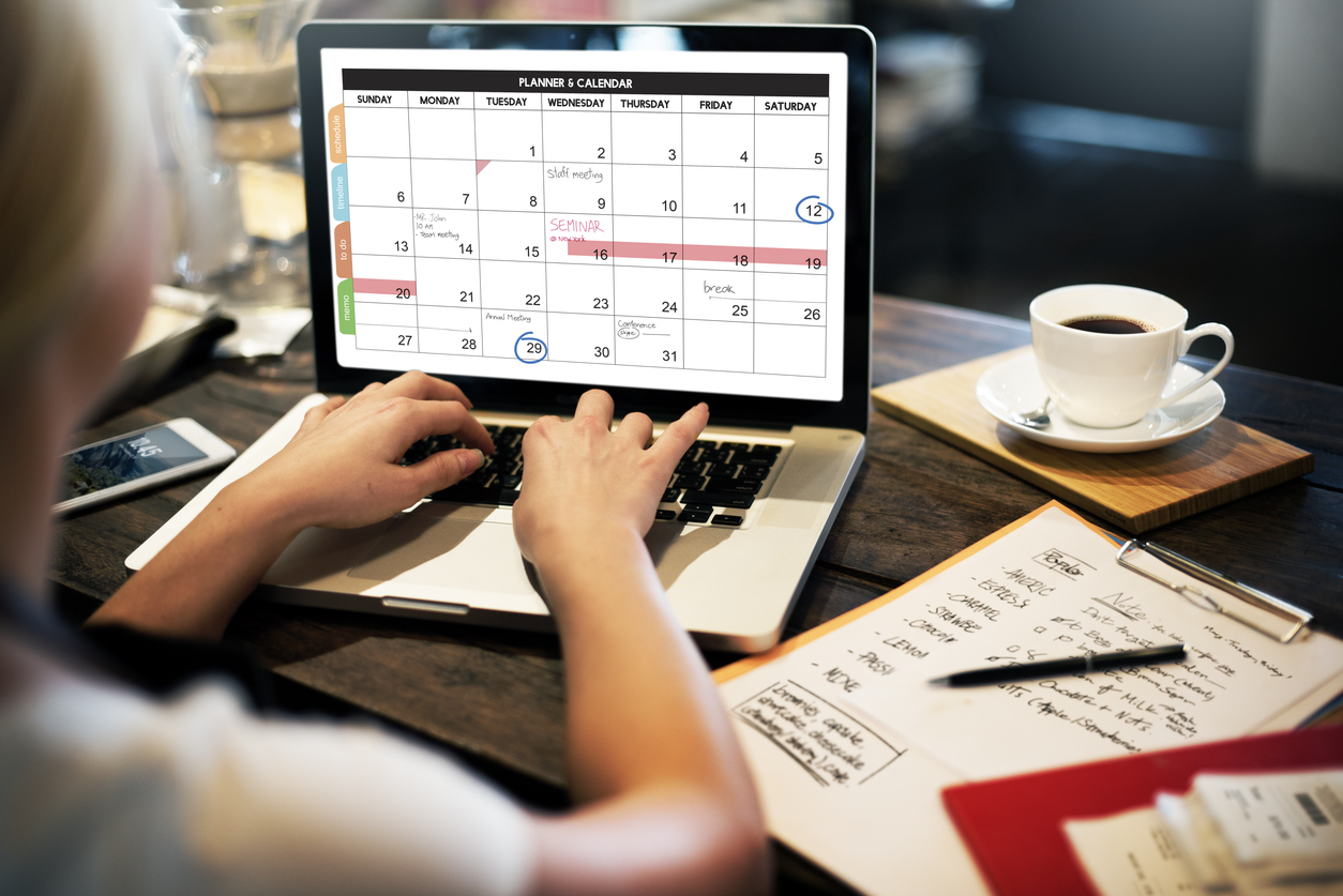 Calendar on laptop, staying organized