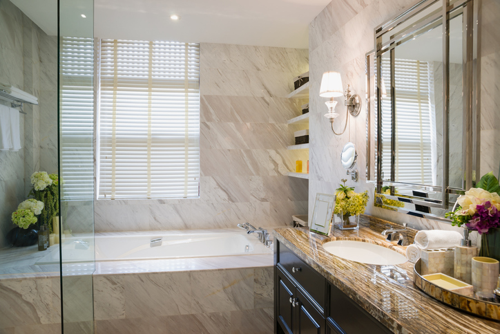 Luxurious organized bathroom