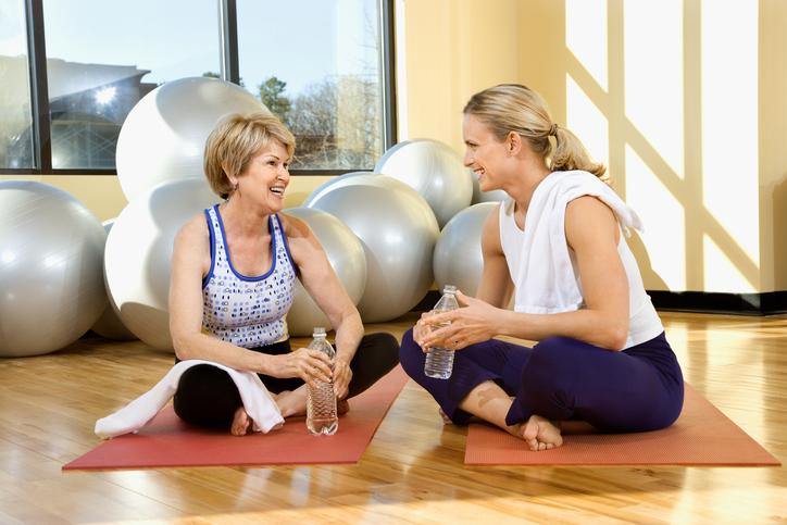Women conversing at gym