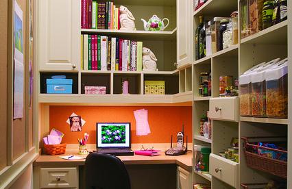 Custom pantry cookbook shelving storage