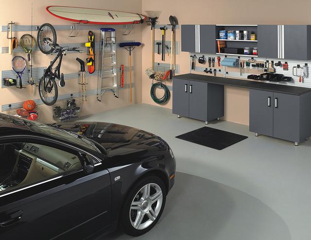 Custom storage in a garage with car.