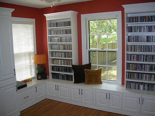 Custom bookshelves and bench Charlotte