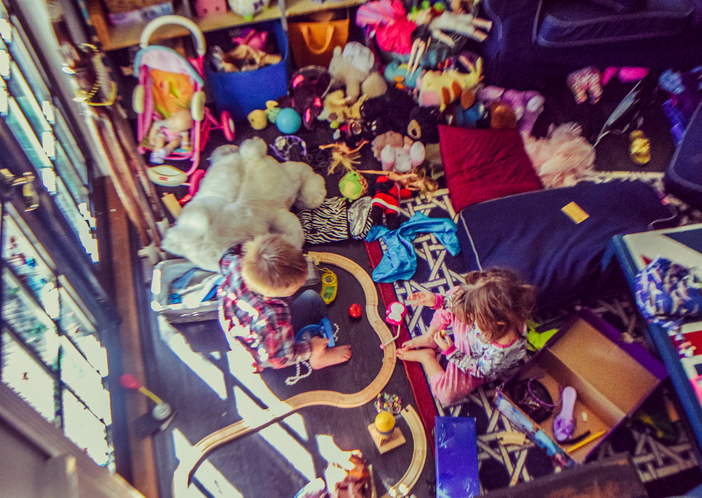 Messy kids' playroom with toys