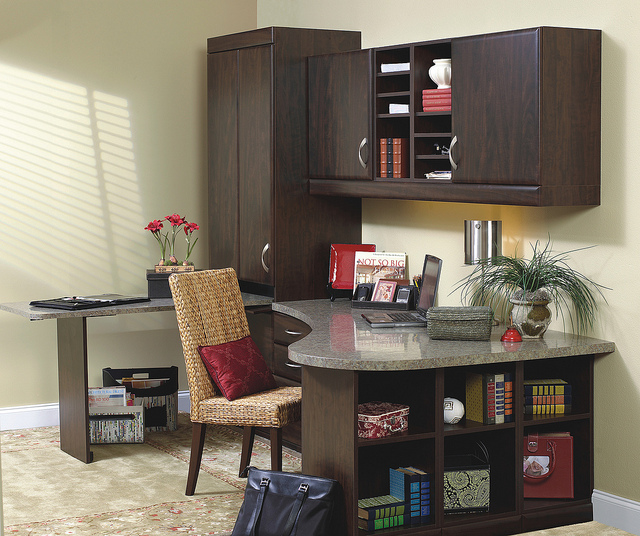 Dark wood built-in office desk