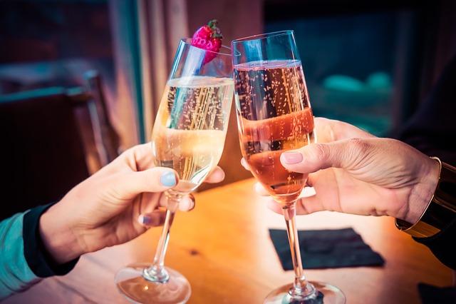 Celebratory champagne drink