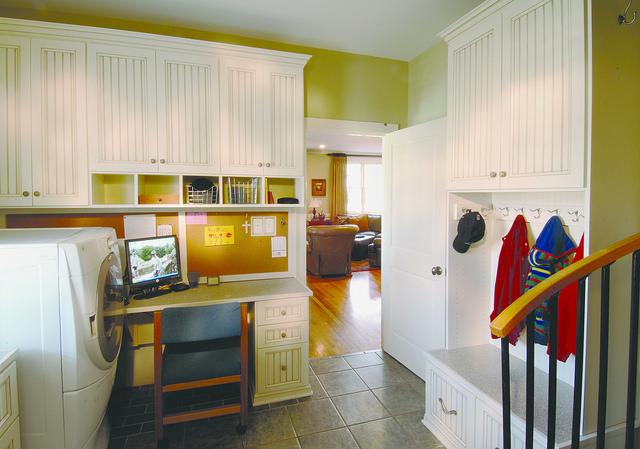 Organized mudroom storage cabinets