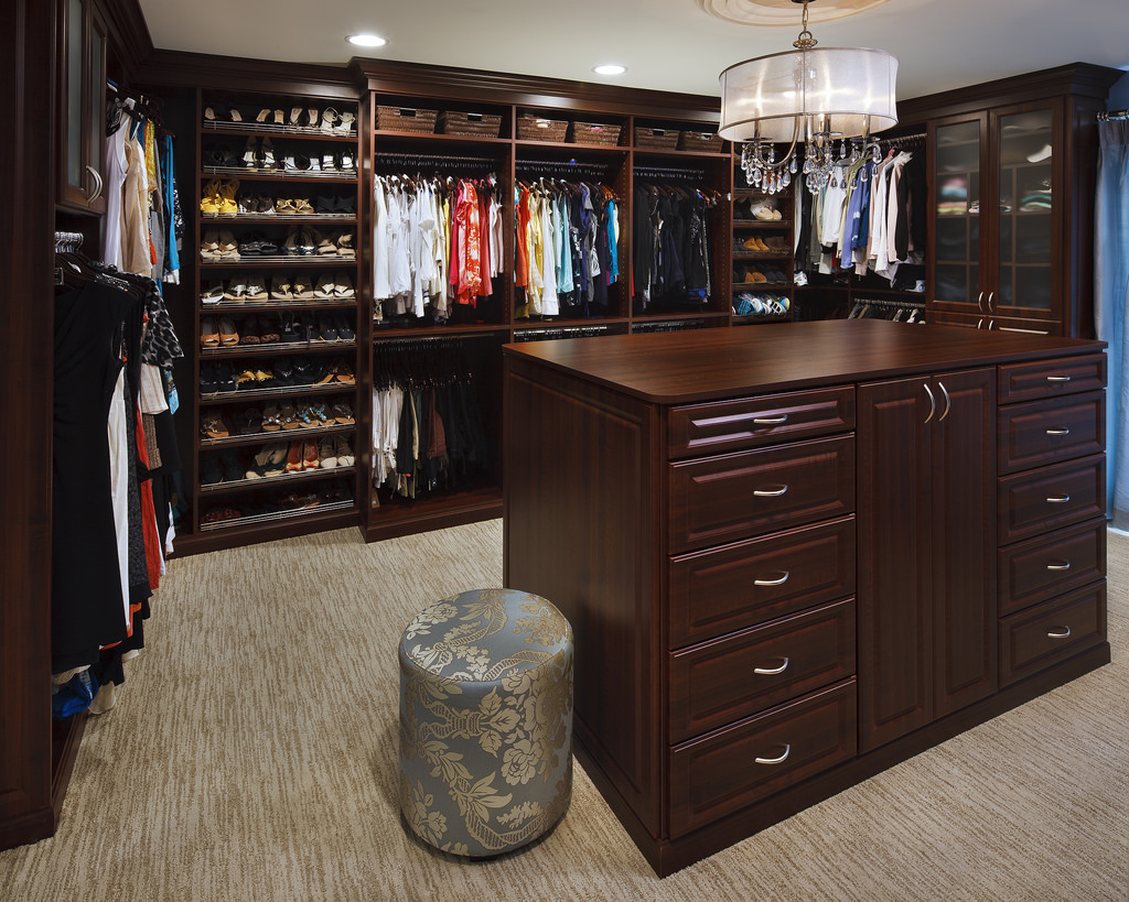 Traditional custom closet charlotte dark wood