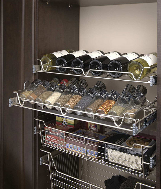 Built-in wine and spice rack storage