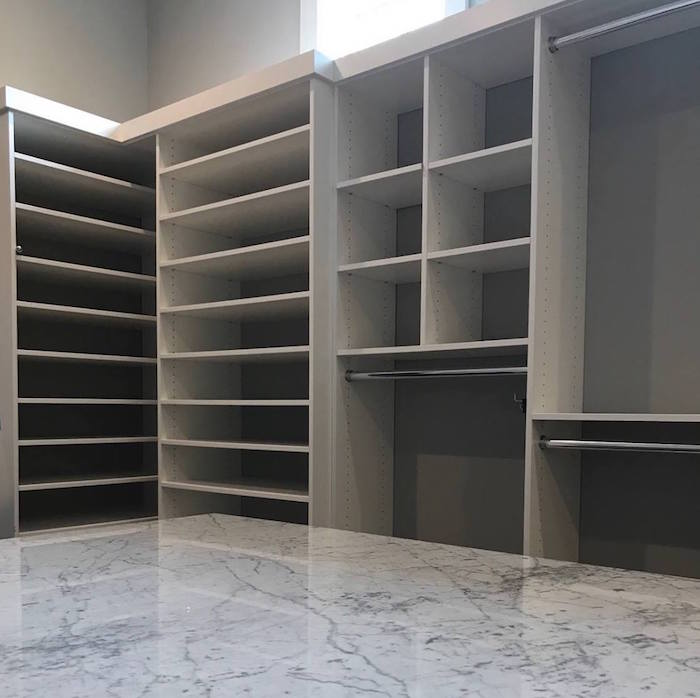 Modern white custom closet with island Charlotte