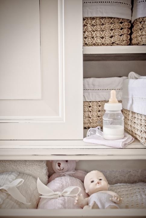 Nursery shelves and baskets