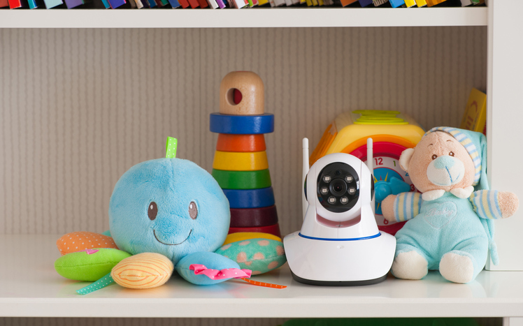 Baby toys and camera on a secure shelf