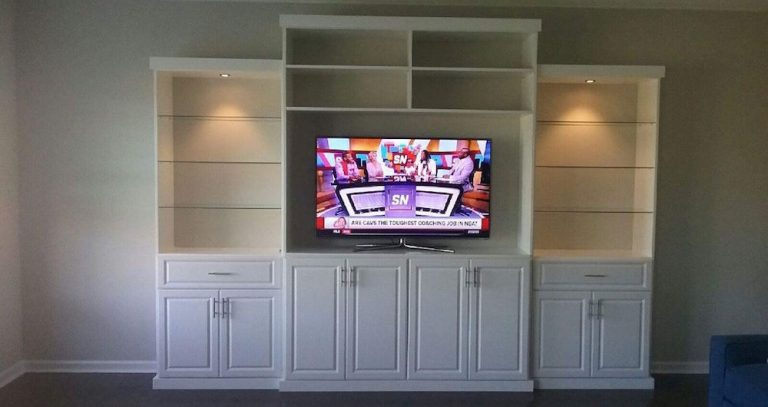 Custom entertainment center Charlotte with TV