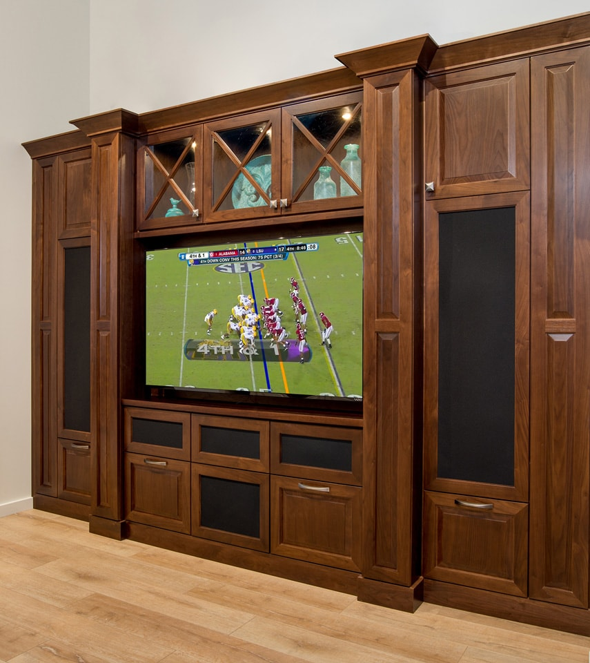 custom entertainment center with football game
