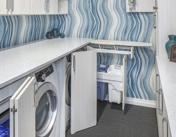 white modern laundry room