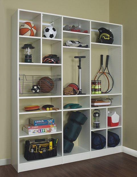 Organized sports equipment storage system