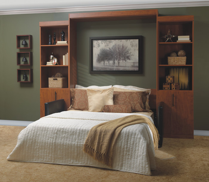 Murphy bed with built-in shelves
