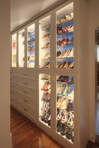 A closet with track lighting