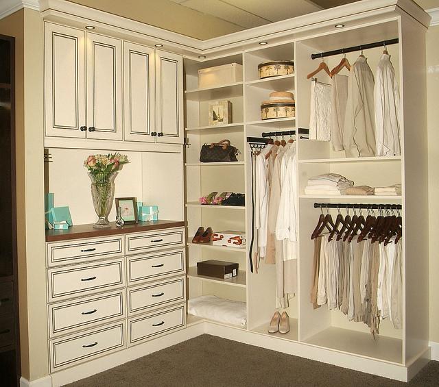 Custom closet in antique white finish