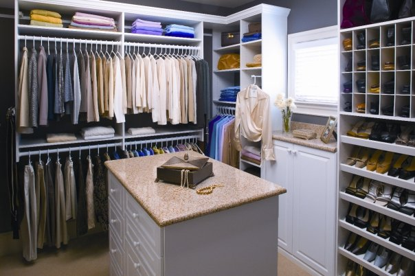 Custom walk-in closet - white shelving Denver