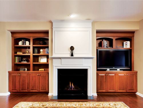 Wood custom media center in Denver