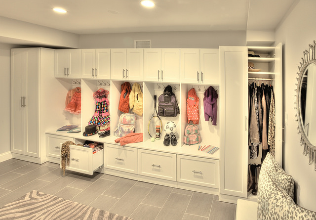 Contemporary custom mudroom storage in Denver