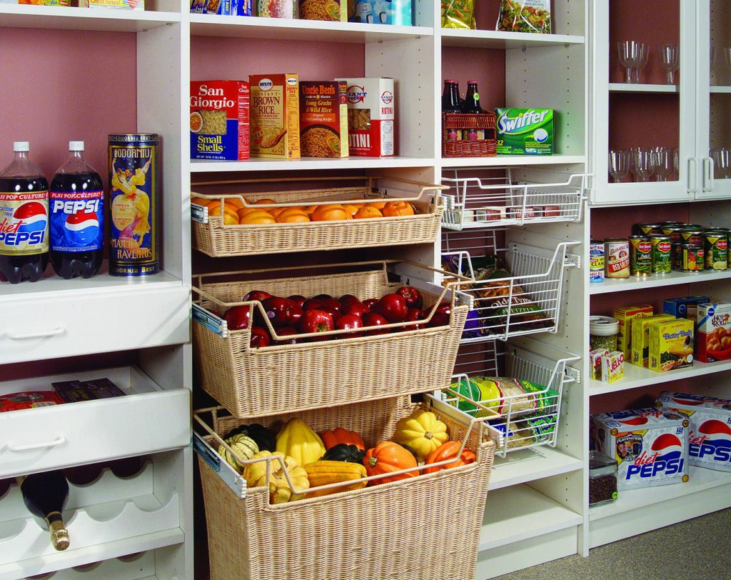 built-in pantry shelving with baskets