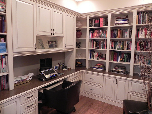 Traditional custom white office cabinets